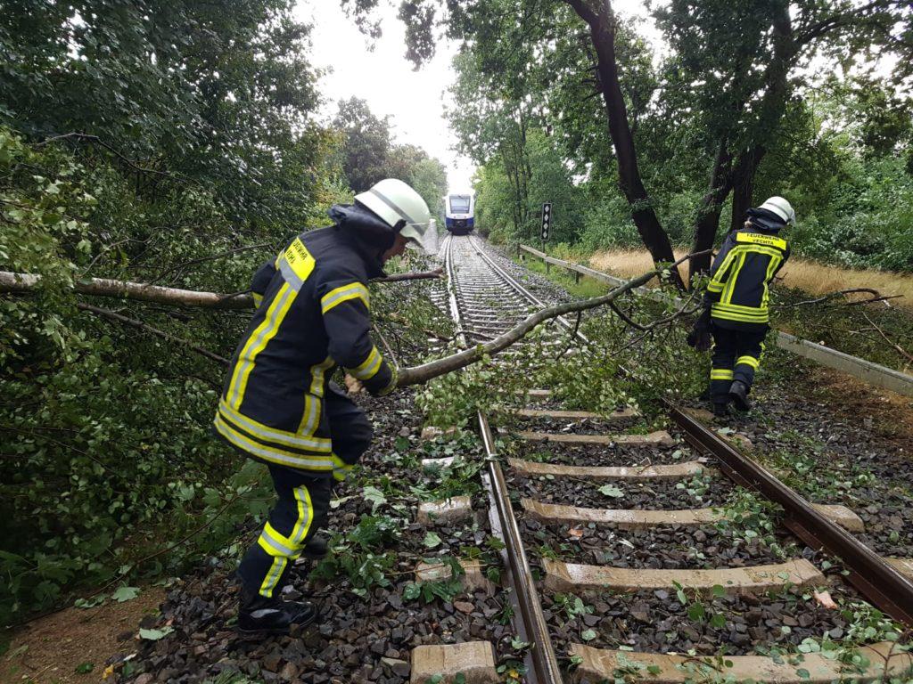 Sturmschaden, Baum vor Zug